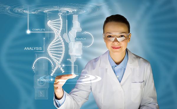 Γυναίκα επιστήμονας αγγίζει σε touch screen μόριο dna